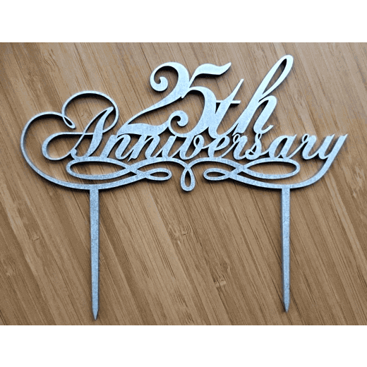 25th Anniversary – SILVER cake topper C25AS – etchArt